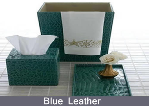 Blue Leather Bathroom Accessories