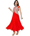 Red Faux Georgette Unstitched Dress Material