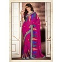 Alluring Magenta And Pink Embroidered Saree