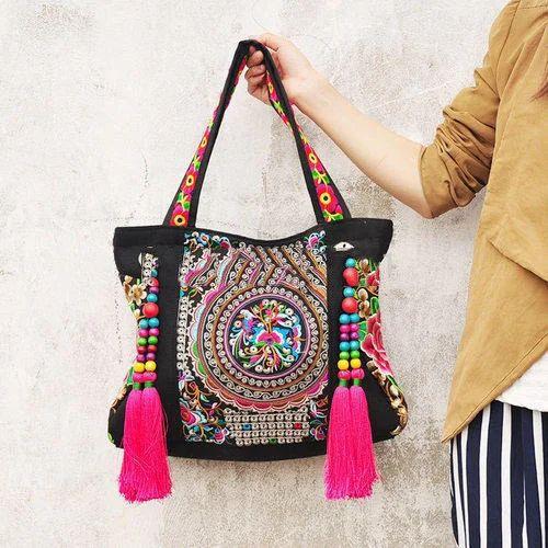 Ladies Embroidery Hand Bag एम ब र यडर ड ह डब ग