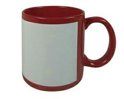 Sublimation Red with White Patch Mug