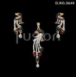 American Diamond Peacock Pendant Set