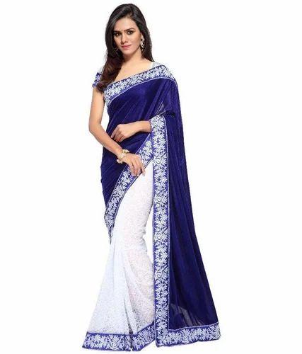 995a8469de2ee Fabian Fashion Designer Blue Velvet Saree at Rs 850  piece(s ...