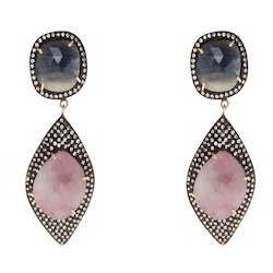 925 Sterling Silver Sapphire Vermeil Gold Earring