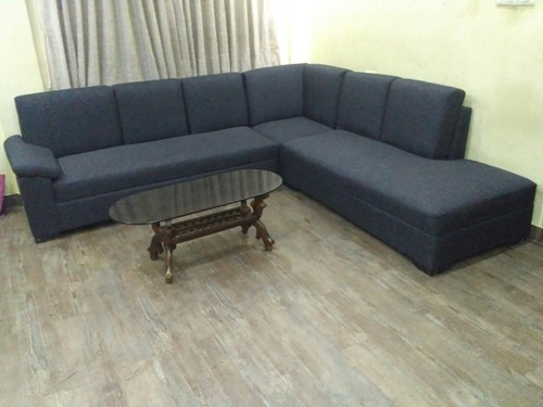 Black Nd White Leather L Shape Sofa