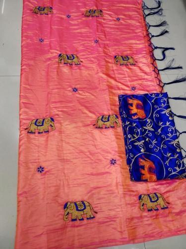 b1835f25bc Pure Silk Party Wear Sana Silk Elephant Embroidery Work Saree, Hand, 6.3 m (
