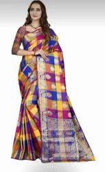 Printed Party Wear Designer Cotton silk Saree, With Blouse Piece