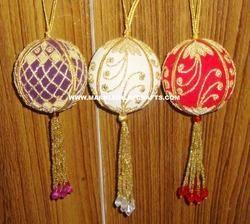 Decorative Zari Embroidery Christmas Balls