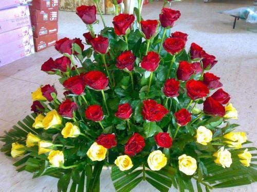 Bouquets heart design flower decoration service provider from red and yellow flower bouquet mightylinksfo