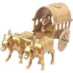 Yellow Brass Bullock Cart For Decoration Purpose