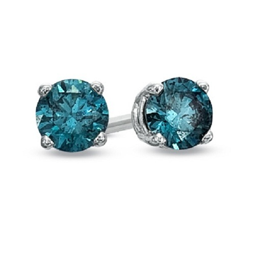 Real Blue Diamond Stud Earring
