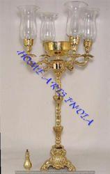 Gold Candelabra With Glass Chimneys