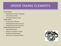 Order Taking Entry Services