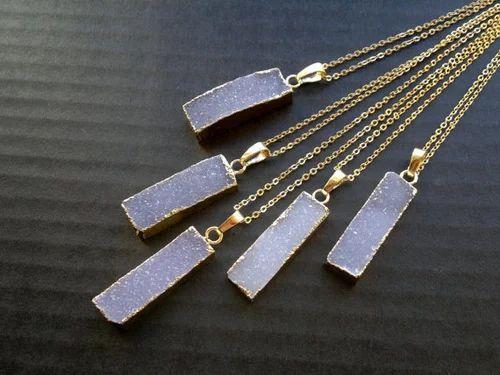 White druzy bar pendant necklace at rs 600 piece druzy pendant white druzy bar pendant necklace aloadofball Images