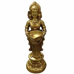 Aakrati Golden (gold Plated) - Handmade Lord Laxmi Statue With Diya