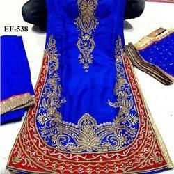 Unstitched Georgette Hand Embroidery Punjabi Suit
