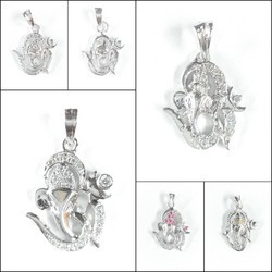 925 Sterling Silver Om Ganesh Pendant