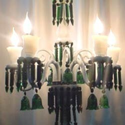 Contemporary Candle Look Glass Chandelier