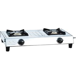 Silver Two Burner Gas Stove, For Kitchen