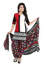 Printed Black & Red Crepe Casual Wear Un-Stitched Dress Mate