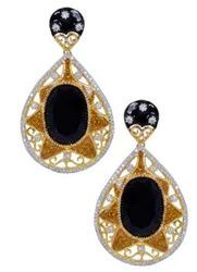 Gold Plated Black Stone Drop Earring