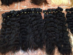 Black Thick Ends Hand Weft Human Hair, for Personal