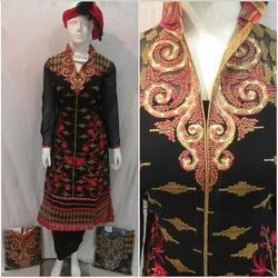 high neck embroidery suit