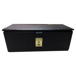 Black Leather Jewelry Lock Box