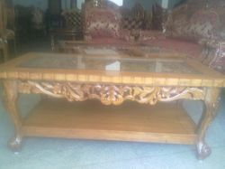 Wooden Carved Glass Table