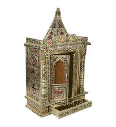 Meenakari Wooden Pooja Mandir for Home Daily Puja/Aarti/ Altar Temple Golden