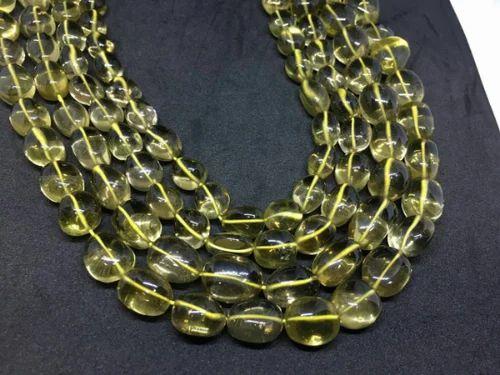 Lemon Quartz Plain Tumbled Beads, 10x10 mm Approx, 13 Inches