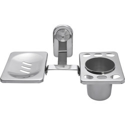 Lories Silver Stainless Steel Soap Dish With Toothbrush Holder