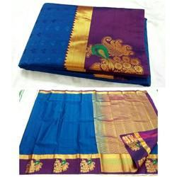 Half fine Zari Gold Kanjivaram Art Silk Sarees, 6.3 m (with blouse piece)