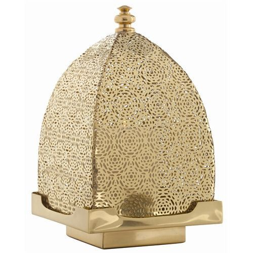 Moroccan Gold Finish Square Shape Led Candle Lantern