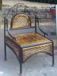 Wrought Iron Wooden Chair