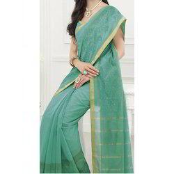 Light Green Real Zari Gold Cotsilk Embroidery Saree, Machine, 6.3 m (with blouse piece)