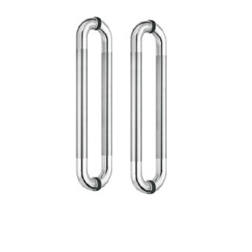 Chrome Finish Glass Door D Shape Handle, KDH-11, Silver