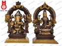 Laxmi and Ganesh Sitting Yelli Ring on Sq. Base Statues