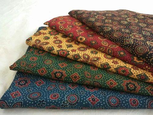 Green & Indigo Blue Ajrakh Block Print Fabric, Use: Garments, Rs 200 /meter  | ID: 17436742662