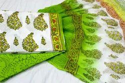 Tridev Febrics Cotton Sanganeri Unstitched Salwar Suit Fabric, Machine wash