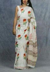 Ladies Floral Print Cotton Saree, 5.2 m Separate Blouse Piece