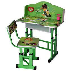 Wooden and Metal Kids Study Table Set
