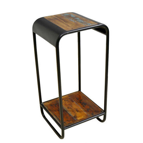 European Industrial Reclaimed Wooded Iron Telephone Table, Size: W15xd15xh30 inch