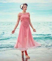 Pink Sleeveless Kurti