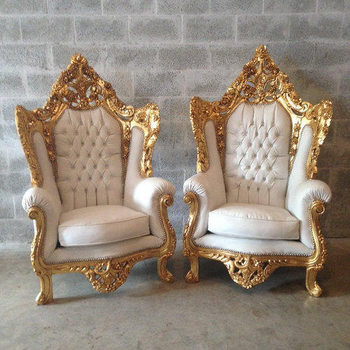 Gurukrupa Golden Touch White U0026 Gold Gold Plating On Italian Baroque Chairs