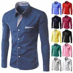 Collar Neck Men''S Plain Slim Fit Shirt