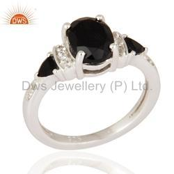 925 Fine Silver Black Onyx Gemstone Ring