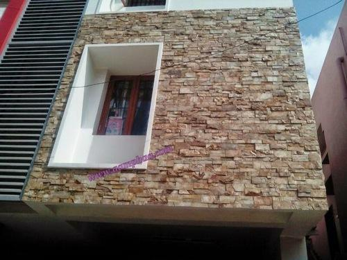 Front elevation stone tiles exterior and interior stone for Exterior wall tiles design india
