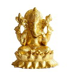Lotus Ganesha Statue  - Gold