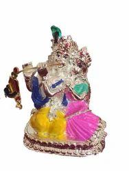 Silver Radha Krishna Statue